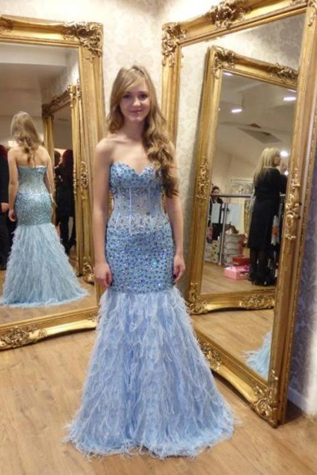 Prom Dress,Evening Dresses, Prom Dresses,Party Dresses,Prom Dress, Prom Dresses, Prom Dresses,Sexy Sweetheart Light Blue Feathers Mermaid Prom Dresses Long Beaded Crystal vestidos de fiesta Formal Gowns,Floor-length Prom Dresses