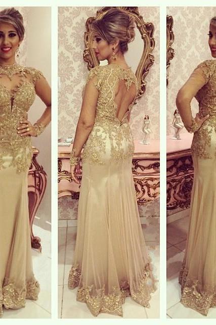 Gold Lace Evening Dress ad898c7e902a