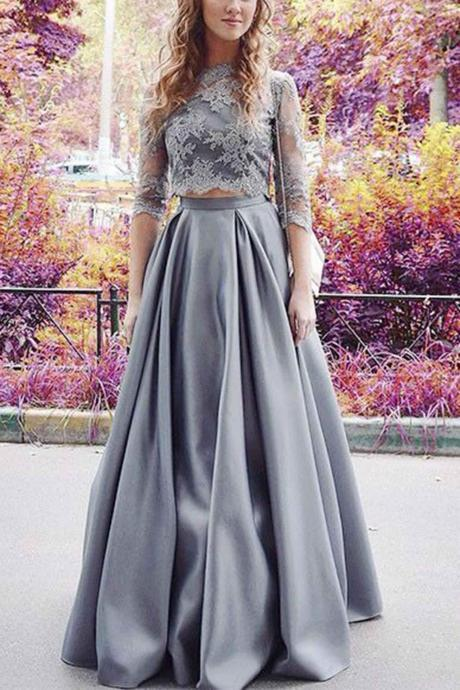 Gray chiffon round neck A-line lace half sleeves prom dresses,long formal dress