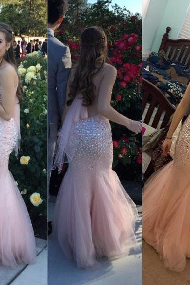 2016 Luxury Mermaid Bling Bling Prom Dresses Crew Neck Beading Crstals Evening Dress Party Formal Dress Gowns Vestidos