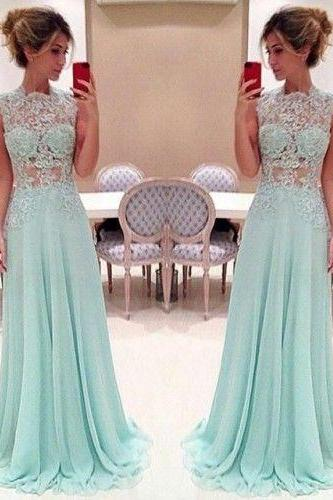 Custom Made A Line High Neck Lace Prom Dresses 2017, Long Lace Evening Dresses, Lace Formal Dresses, Lace Party Dresses