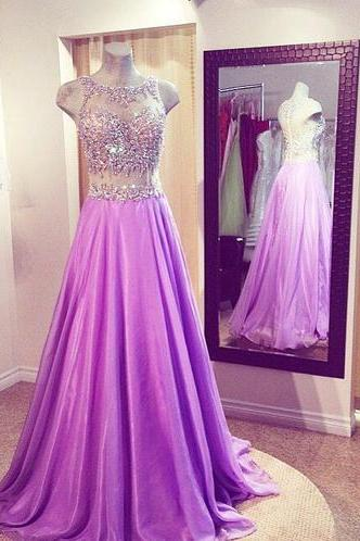 Custom Made A Line Round Neck Floor Length Prom Dresses