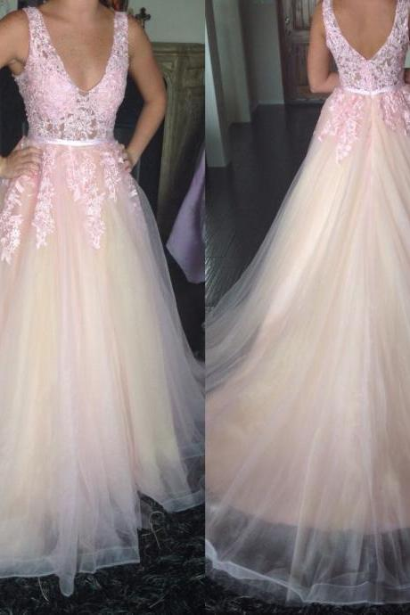 Pink Prom Dresses, Tulle Prom Dresses, V Neck Prom Dresses, Elegant Prom Dresses, Lace Prom Dresses, Long Prom Dresses, Cheap Formal Dresses, Backless Prom Dresses