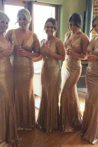V Neck Bridesmaid Dress, Bling Bridesmaid Dress, Gold Sequins Bridesmaid Dress, Long Bridesmaid Dress, Mermaid Bridesmaid Dress, Sexy Evening Dress, Bridesmaid Dresses 2017