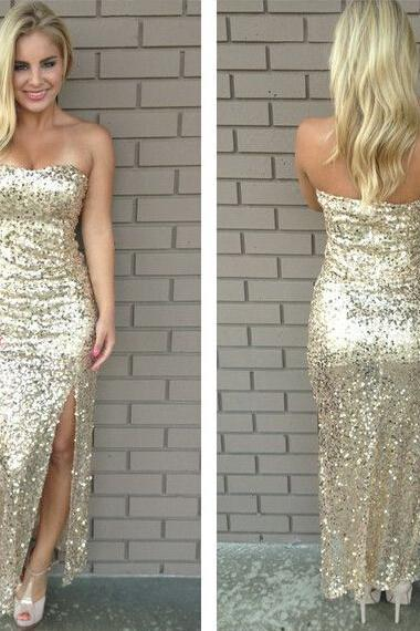 Golden Sequined 2017 Sexy Long Evening Dresses with Side Slit Formal Party Dress,Bridesmaid Dresses
