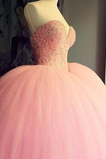 Pink A-Line Wedding Dress,Long Tulle Wedding Dresses,New Arrival Formal Dresses Party Gowns
