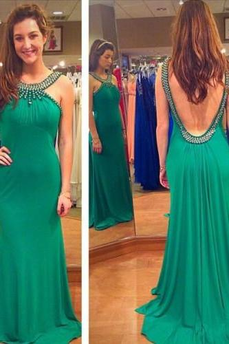 Green Prom Dresses,Beading Evening Gowns,Modest Formal Dress,Beaded Prom Dresses,Fashion Evening Gown,Backless Evening Gowns,Open Back Party Dress,Evening Gown, Formal Dresses, High Quality Party Dresses,High Quality Graduation Dress,Wedding Guest Dress