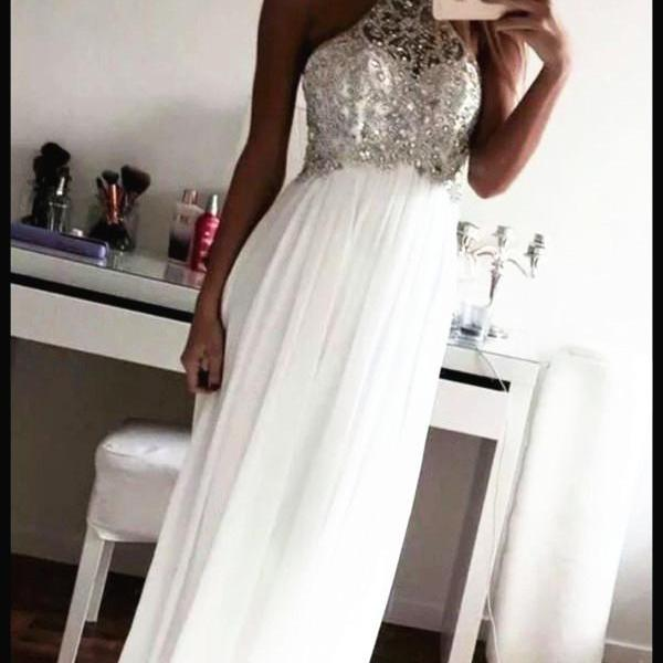 White Prom Dress, White Bridesmaid Dresses, White Evening Dresses, Formal Dresses