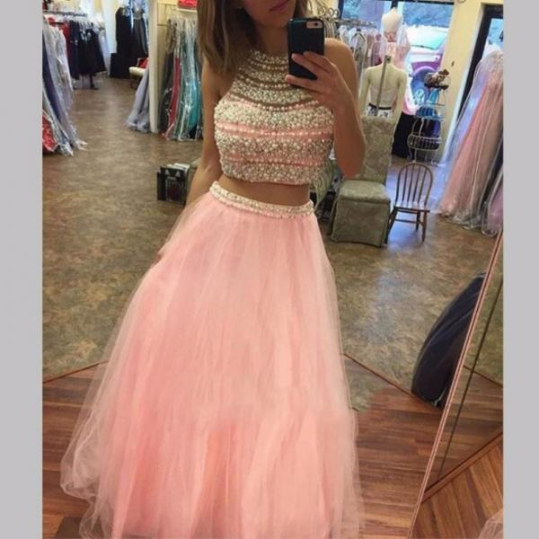 Pink tulle 2 pieces beading foor-length prom dress , formal dresses
