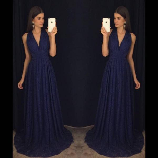 Navy Blue Prom Dresses,Elegant Evening Dresses,Long Formal Gowns,Party Dresses,Chiffon Pageant Formal Dress