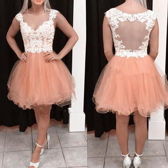 Cute Custom Handmade Knee Length Pink Straps Prom Dress with Lace Applique, Homecoming Dresses, Cute Party Dresses , Wedding Party Dresses, Formal Dresses,Wedding Guest Prom Gowns, Formal Occasion Dresses,Formal Dress