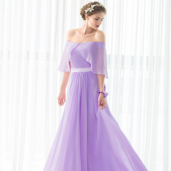 elegant purple bridesmaids dresses ,2017 formal dress,boat neck chiffon evening dresses ,
