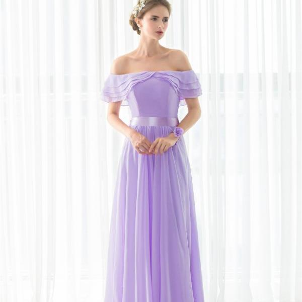 elegant bridesmaids dresses ,,women wedding guest dress,2017 light purple formal dress,boat neck chiffon evening dress,simple evening dress