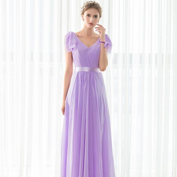 cheap bridesmaids dresses ,,women wedding guest dress,2017 light purple formal dress,chiffon evening dress,simple evening dress