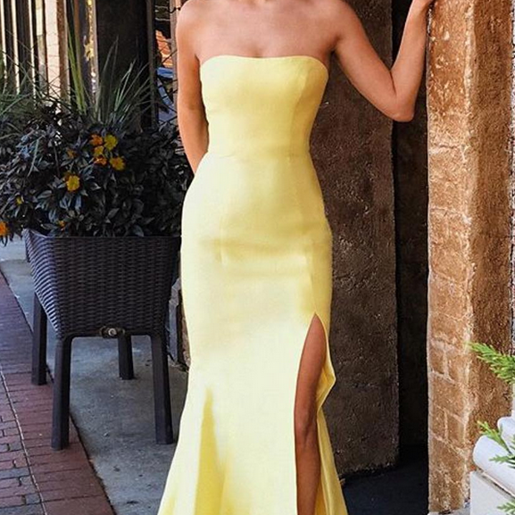 Simple Strapless Mermaid Long Evening Dresses with Sexy Slit Formal Dress