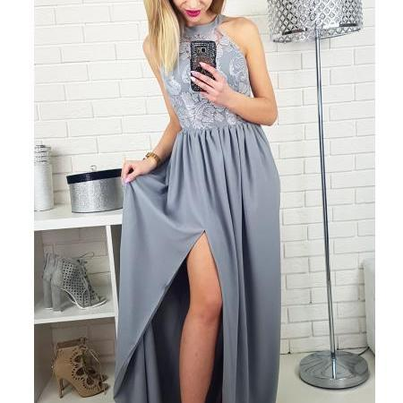Grey Long Prom Dress Bridesmaid Dress With Slit
