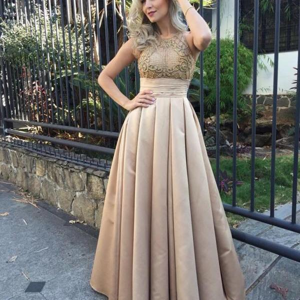 Stunning champagne Prom Dress, Halter Applique Formal Long Lace Bridesmaid Prom Dresses