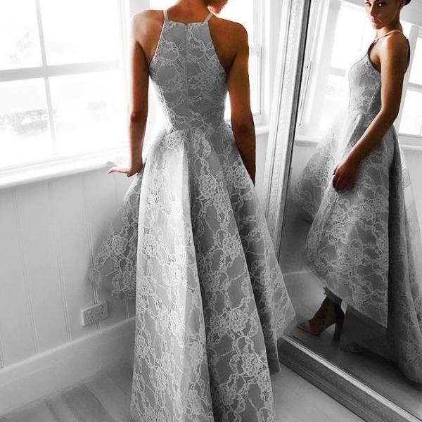 Grey Prom Dresses Zippers Prom Dresses Lace Prom Dresses Hi-Lo Prom Dresses