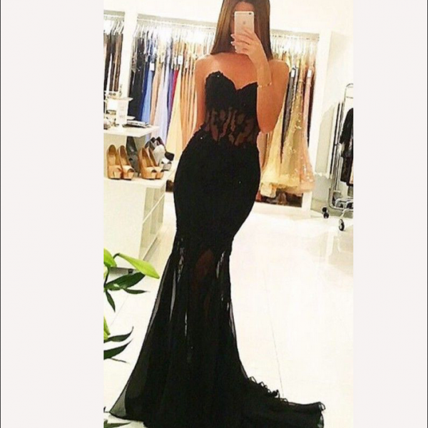 Black Prom Dresses,Sweetheart Prom Dresses,Long Prom Dresses.Mermaid Prom Dress,Beautiful Prom Gowns,Sexy Party Dresses,Evening Dresses,Women Dresses