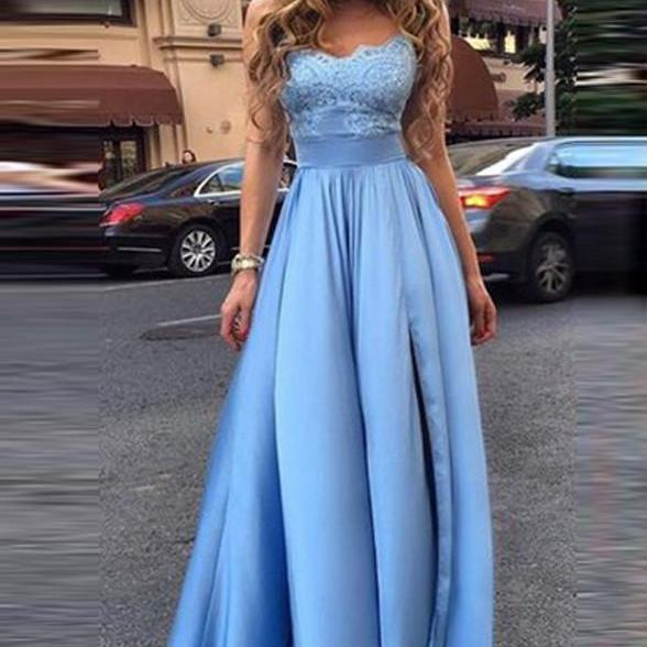 Ball-Gown Prom Dresses Sleeveless Prom Dresses Light Blue Prom Dresses Lace Prom Dresses