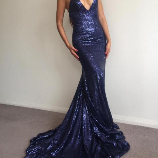 Charming Prom Dress,Navy Blue Prom Dress,Sexy Sequin Prom Dress,Long Party Dress,Mermaid Prom Dress,Sequined Prom Dress, V Neck Prom Dress,