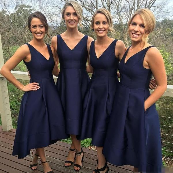 Simple navy blue high-low prom dress,evening dress, navy blue formal dress