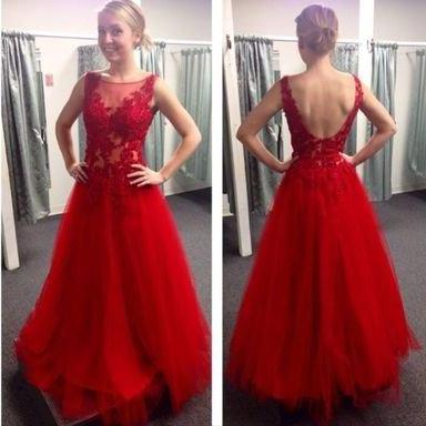 red prom Dress,charming Prom Dress,lace prom dress,A-line prom dress,long prom dress
