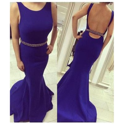 blue prom dresses 2017 backless prom gown beaded evening dress slim formal party gwon women dress ,long prom dress