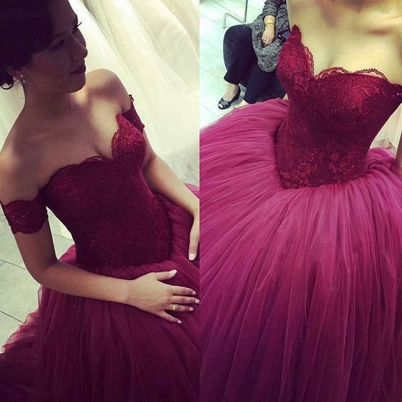 off shoulder prom dress,burgundy Prom Dress,A-line prom dress,gorgeous prom dress,ball gown