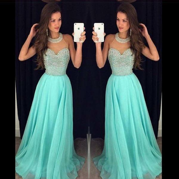 High Quality Prom Dress A-Line Prom Dress Halter Prom Dress Sexy Beading Prom Dress Chiffon Prom Dress