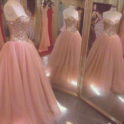 Pink Sweetheart Floor Length Chiffon Ball Gown Prom Evening Dress ball gown pink ,bling bling prom dress