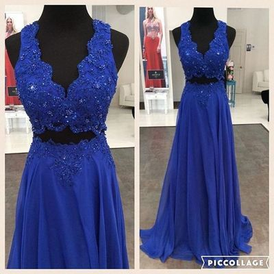 royal blue Prom Dresses,two pieces prom dress,long prom Dress,beaded prom dress,charming evening dress.2017 prom dress