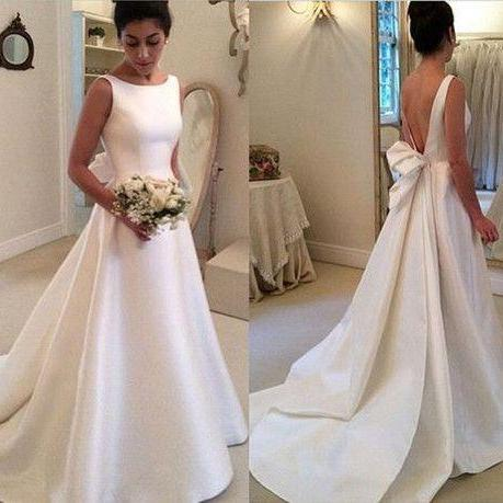 Charming Wedding Dress,Satin Wedding Dress,Noble Wedding Dress,Backless Prom Dress