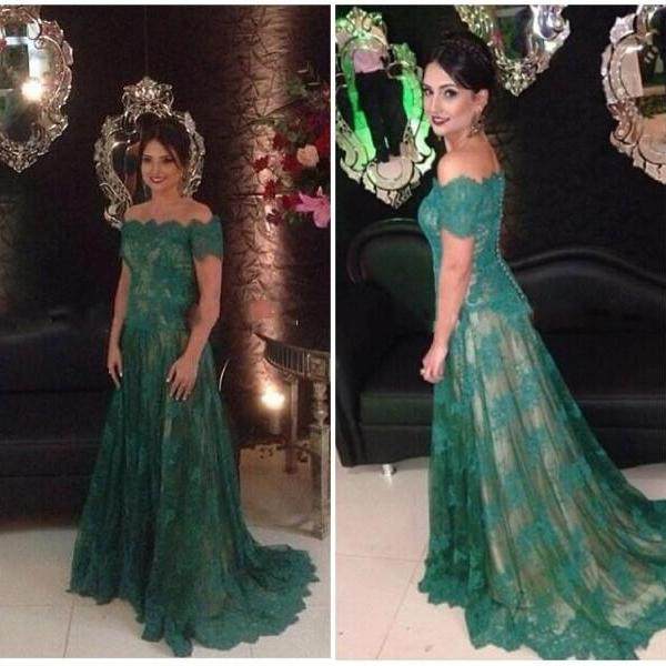 Prom Dresses,Prom Dress,Long Prom Dresses,Lace Prom Dresses,Prom Dresses Green,Prom Dresses Short Sleeves,Lace Formal Gowns,A-line Evening Dresses,Lace Pageant Dresses,Formal Gowns for Women,, Cocktail Dresses, formal dresses,Wedding guests dresses