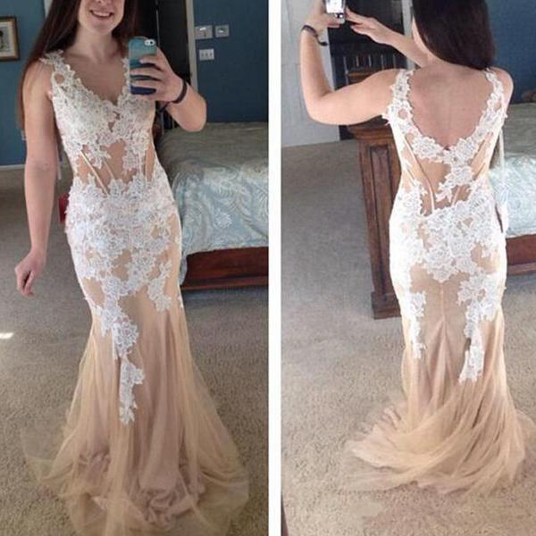 Long Champagne Formal Dress, Tulle V-neck Party Prom Dresses ,Appliques Mermaid Formal Evening Pageant Gowns