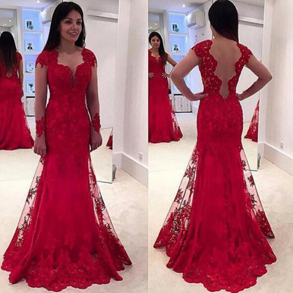 Red Evening Dress, Lace Applique Evening Dress, Long Evening Dress, Cap Sleeve Evening Dress, Elegant Evening Dress, Evening Dresses 2017, Formal Dresses Cheap
