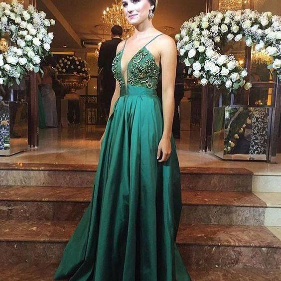 A Line Evening Dresses, Beading Crystals Prom Dress, Green Chiffon Party Dress, Long Formal Dress